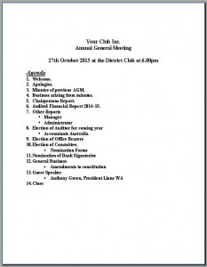 AGM Agenda Snapshot